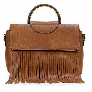 Handbags - Brown Leather Fringe Top Handel Satchel